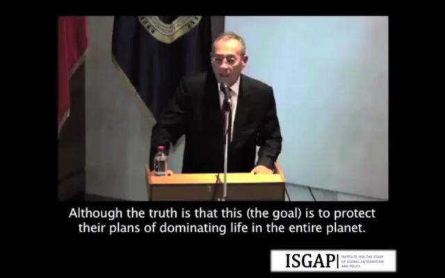 Palestinian Authority Ambassador to Chile Imad Nabil Ghadaa quotes anti-Semitic 'Protocols of the Elders of Zion' text in a speech on May 15, 2015. (Screen capture)