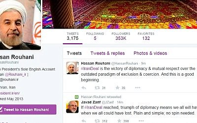 A Twitter post by Iranian President Hassan Rouhani on July 13, 2015, apparently celebrating the signing of a nuclear agreement. The tweet was hastily deleted.