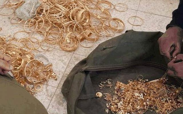 Gold found by the Shin Bet allegedly used to fund the Hamas cell (Shin Bet Communications)