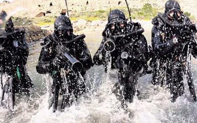 Israeli naval commandos from the Shayetet 13 unit. (screen capture: YouTube)