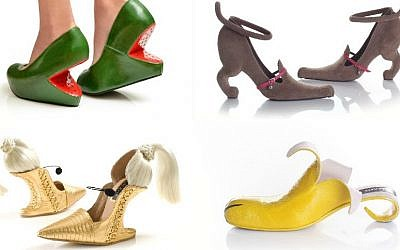 Daniel Charkow admires the creations of Israeli shoe designer Kobi Levi. Clockwise, from left: Watermelon, Miao, Banana and the Madonna-inspired Blond Ambition (Courtesy of Kobi Levi via JTA)