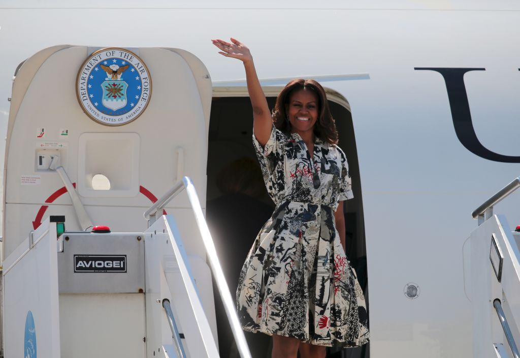 US First Lady Michelle Obama leaves from Venice Airport in Venice, Italy 19 June 2015. (Michelle Obama image via Shutterstock)