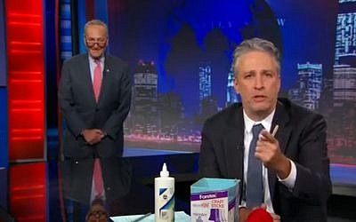 Jon Stewart (Right) and Senator Chuck Schumer on The Daily Show, July 23, 2015 (Comedy Central screen capture)