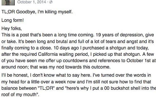 Suicide note posted on Facebook. The writer reportedly killed herself in October 2014 (Facebook)