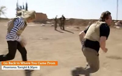 Participants of the Australian reality TV show 'Go Back to Where You Came From' duck as they come under fire in Syria (screen capture: YouTube)