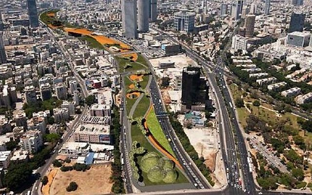 A simulation of what the urban park to be built atop the Ayalon Highway in Tel Aviv will look like. (Tel Aviv Municipality)