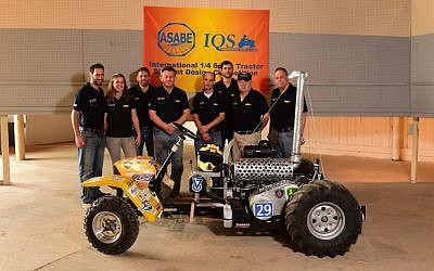 The Technion team shows off the TracTech at the IQS Tractor Student Design Competition in Batavia, Illinois, July 14 2015 (Courtesy)