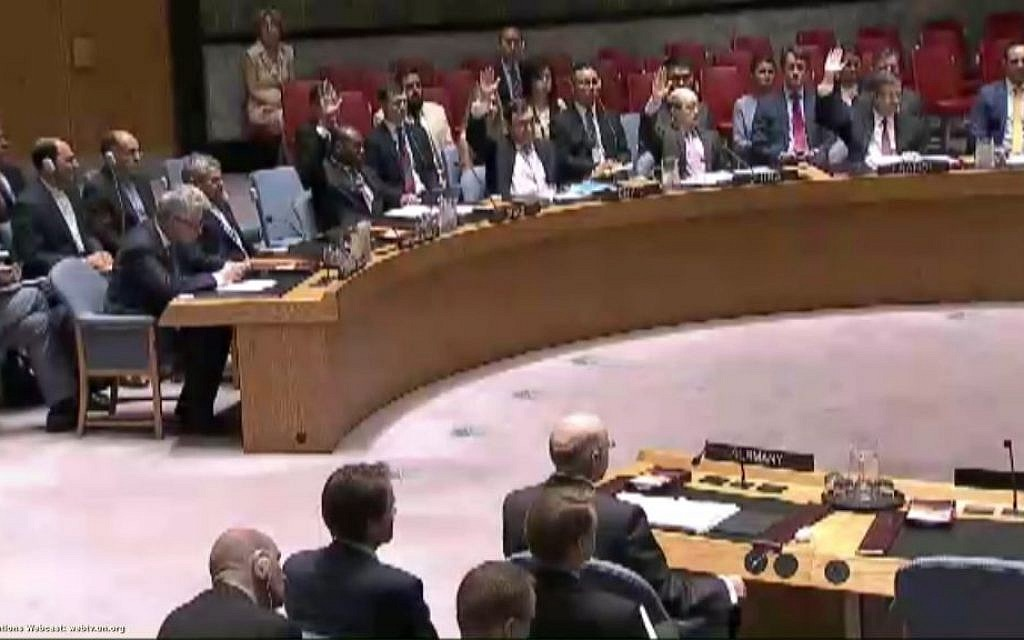 The United Nations Security Council voting on the Iran nuclear deal (Screen capture: UN Webcast)