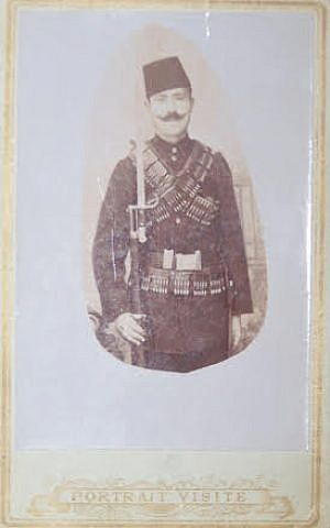 Photograph of Ephraim (Ben) Varon, from Gallipoli, in his Ottoman military uniform prior to migrating to Seattle. (Courtesy of Jack Varon)