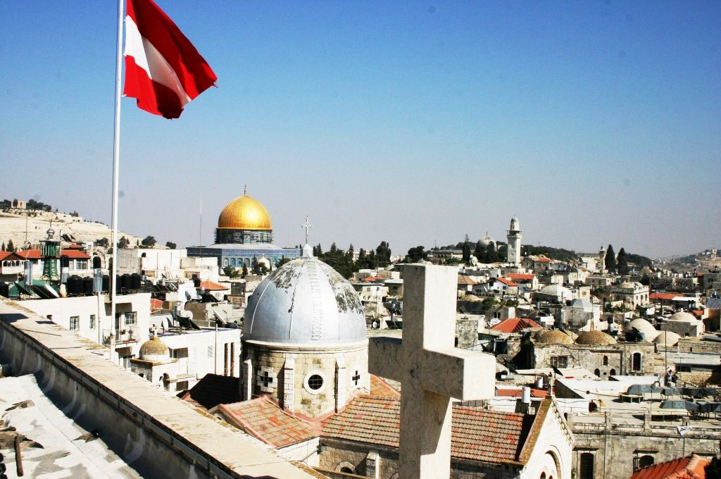 A view over the Old City from the roof of the Austrian Hospice (Shmuel Bar-Am)
