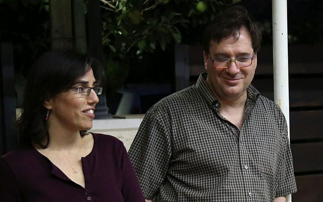Yonatan with his wife, Rutie, at an iftar gathering (Eric Cortellessa/Times of Israel)