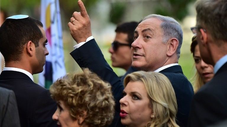 Prime Minister Benjamin Netanyahu and his wife Sara visit at the Universal Exhibition 2015 (Expo Milano 2015 or World Exposition 2015) in Milan on August 27, 2015. (Giuseppe Cacace/AFP)