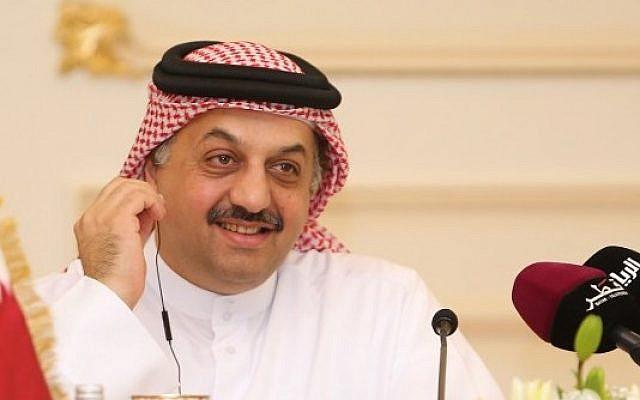 Qatari Foreign Minister Khalid bin Mohammad Al-Attiyah listens during a press conference in Doha, August 3, 2015. (AFP/Al-Watan Doha/Karim Jaafar)