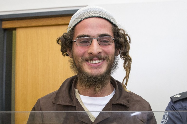 Meir Ettinger, the head of a Jewish extremist group, stands at the Israeli justice court in Nazareth Illit on August 4, 2015, a day after his arrest (AFP PHOTO / JACK GUEZ)