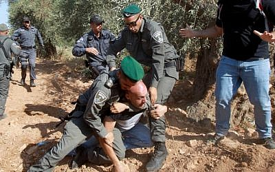 Israeli border police arrest a Palestinian protester who was trying to reach tractors working on the construction of Israel's controversial barrier in the Cremisan Valley, which lies between Jerusalem and Beit Jala, August 19, 2015. (AFP Photo/Musa Al Shaer)