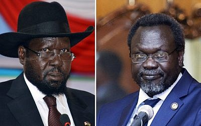 South Sudan President Salva Kiir (L) on June 2, 2014 and leader of South Sudan's largest rebel group and former vice-president Riek Machar (R) on May 9, 2014 in Addis Ababa. (AFP PHOTO / SAMIR BOL / ZACHARIAS ABUBEKER)