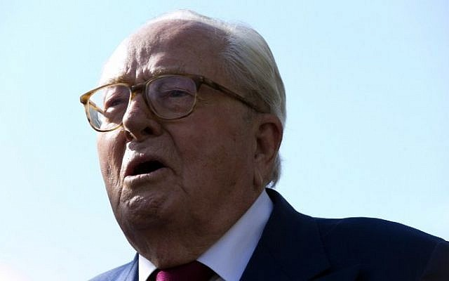 Jean-Marie Le Pen, founder of the French far-right National Front (FN) party, at the party's headquarters on August 20, 2015 (Kenzo Tribouillard/AFP)