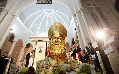 """A statue of Syriac Catholic Bishop Flavianus Michael Melki, martyred during the """"Assyrian Genocide,"""" is seen during his beatification at the Patriarchal convent of Our Lady of Deliverance in Harissa, Lebanon, north of Beirut, August 29, 2015. (AFP PHOTO/EZZAT ATTAR)"""