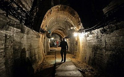 The underground galleries, part of the Nazi Germany 'Riese' construction project under the Ksiaz castle in the area where the 'Nazi gold train' is supposedly hidden underground, in Walbrzych, Poland, on August 28, 2015. (AFP/Janek Skarzynski)