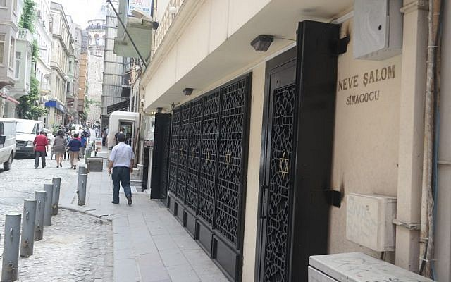 Exterior of Istanbul's Neve Shalom synagogue in Galata. (Avi Lewis, Jon Weidberg)