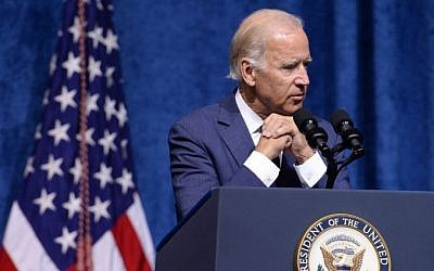 US Vice President Joe Biden speaks at a memorial service to honor those killed In Chattanooga shooting at University of Tennessee at Chattanooga's McKenzie Arena on August 15, 2015 in Chattanooga, Tennessee. (Jason Davis/Getty Images/AFP)