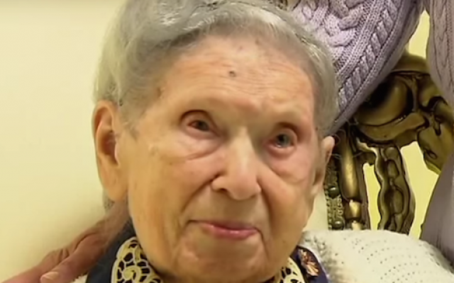 Goldie Steinberg celebrating her 112th birthday in Long Beach, New York, on Jan. 13, 2013. (Screenshot: YouTube)