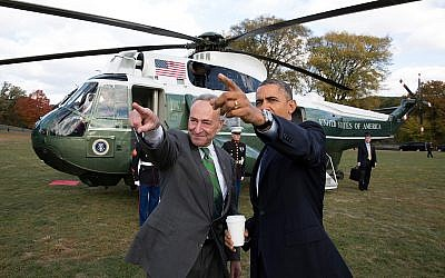 President Barack Obama is met by Sen. Chuck Schumer upon arrival aboard Marine One at the Prospect Park landing zone in New York on Oct. 25, 2013. (White House/Pete Souza)