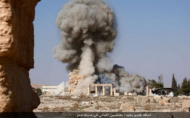 An explosion at the ancient archaeological site in Tadmor, Syria, known as Palmyra, on Sunday August 23, 2015.