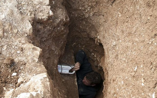 The entrance to a Second Temple-period mikveh recently discovered in Jerusalem, and announced by the Israel Antiquities Authority on August 5, 2015 (Shai Halevy, IAA)
