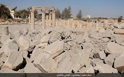 Destroyed ruins at the ancient archaeological site in Palmyra, Syria, on Sunday, August 23, 2015. (courtesy)