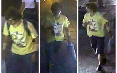 This Aug. 17, 2015, image, released by Royal Thai Police spokesman Lt. Gen. Prawut Thavornsiri shows a man wearing a yellow T-shirt near the Erawan Shrine before an explosion occurred in Bangkok, Thailand. (Royal Thai Police via AP)