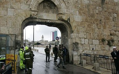 Dung Gate, located in the southeast corner of Jerusalem's Old Ciy, is the the closest entrance to the Western Wall and is the main passage for vehicles. (AP Photo/Sebastian Scheiner)