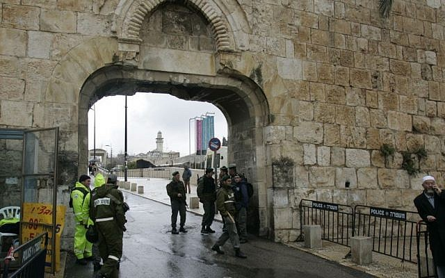 Dung Gate, located in the southeast corner of Jerusalem's Old Ciy, is the closest entrance to the Western Wall and is the main passage for vehicles. (AP Photo/Sebastian Scheiner)