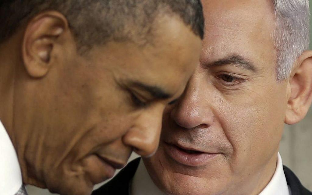 US President Barack Obama listens to Prime Minister Benjamin Netanyahu during their visit to the Children's Memorial at the Yad Vashem Holocaust memorial in Jerusalem, Israel, March 22, 2013. (AP Photo/Pablo Martinez Monsivais)