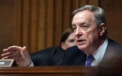 Senate Judiciary Committee member Sen Richard Durbin, D-Ill. questions Homeland Security Secretary Jeh Johnson, on Capitol Hill in Washington, Tuesday, April 28, 2015, during the committee's hearing on oversight of the Homeland Security Department. (AP/Lauren Victoria Burke)