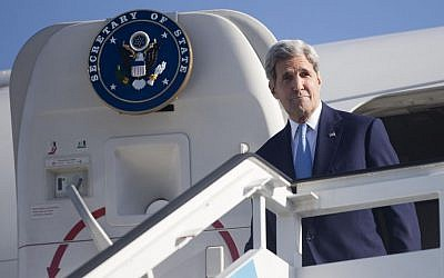 US Secretary of State John Kerry arrives at Jose Marti International Airport in Havana, Cuba, Friday, Aug. 14, 2015. Kerry traveled to the Cuban capital to raise the US flag and formally reopen the long-closed American Embassy. (AP Photo/Pablo Martinez Monsivais, Pool)