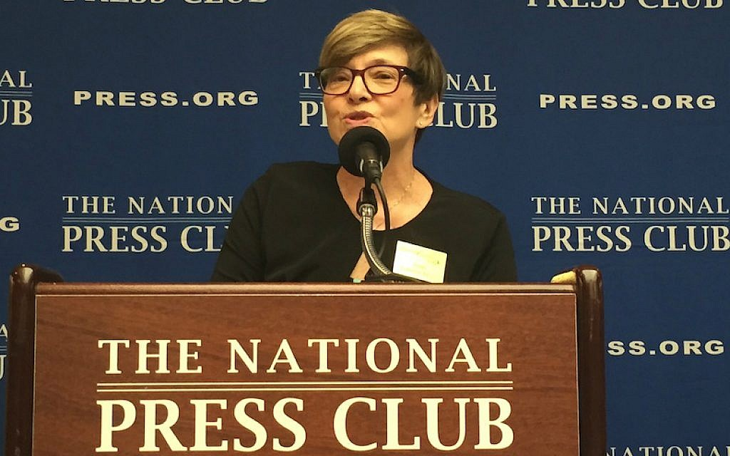 Rabbi Barbara Aiello speaking at the National Press Club in Washington, DC, August 13, 2015. (Menachem Wecker/JTA)