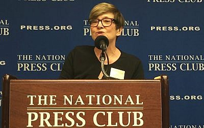 Rabbi Barbara Aiello speaking at the National Press Club in Washington, DC, August 13, 2015. (Menachem Wecker/JTA)