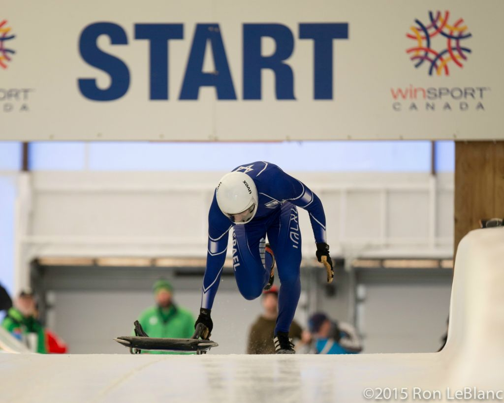 Modern Orthodox American AJ Edelman's mother 'had two heart attacks' when he broke the news about his Winter Olympics dreams. Here Edelson competes in the 2015 Calgary North Americas Cup. (courtesy)