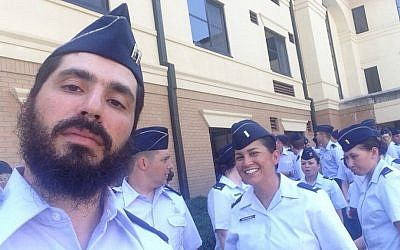 Rabbi Captain Elie Estrin at his graduation from Officer Training School at the Maxwell Air Force base in Montgomery, Alabama on Monday, August 3, 2015. (courtesy)