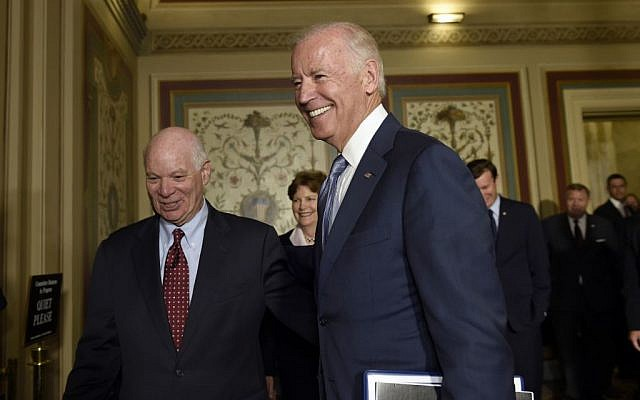 In this July 16, 2015, file photo, Vice President Joe Biden, right, walks with Sen. Ben Cardin, D-Md., left, after arriving for a meeting with Democrats on Capitol Hill in Washington. Determined to secure support for the Iran nuclear deal, President Barack Obama is making inroads with a tough constituency-- his fellow Democrats in Congress. (AP Photo/Susan Walsh, File)