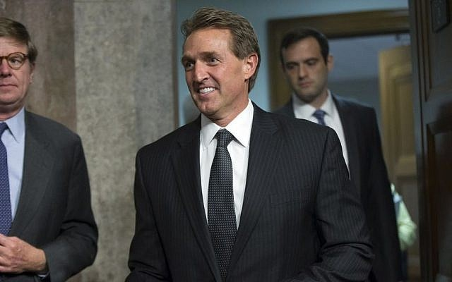 Sen. Jeff Flake, R-Arizona, at a Senate Foreign Relations Committee hearing on Capitol Hill, July 23, 2015. (AP/Andrew Harnik)