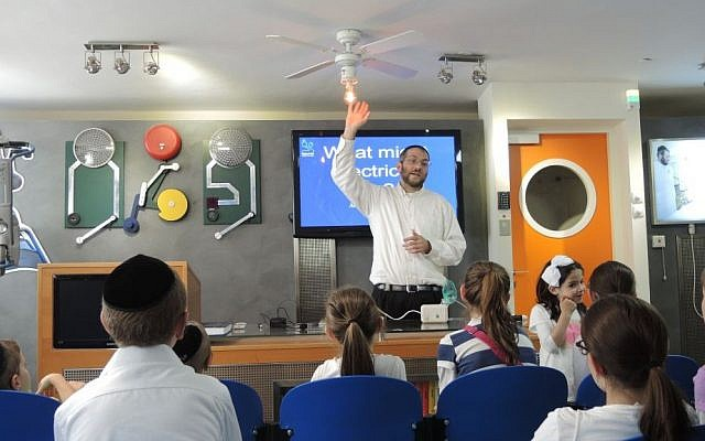 The lecture at the Zomet Experience goes in depth into the science of circuit breakers... so in-depth that it hertz. (Melanie Lidman/Times of Israel)