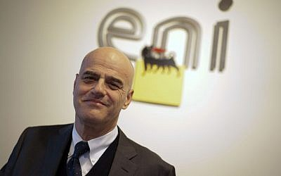 In this Tuesday, January 20, 2015 file photo, Italian energy giant Eni CEO Claudio Descalzi poses for a photo prior to the start of a conference, in Rome.  (Andrew Medichini/ AP Photo)