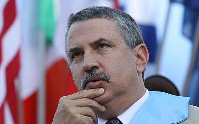 New York Times columnist, Thomas L. Friedman. (Rebecca Zeffert/Flash90)