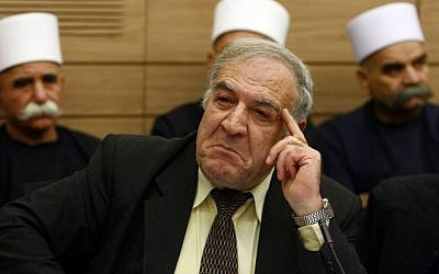 Former MK Said Nafa, at the time a Knesset member for the Balad party, attends a parliament discussion regarding lifting his immunity, January 26, 2010. (Abir Sultan/FLASH90)