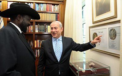 Israeli prime minister Benjamin Netanyahu met with President of the Republic of South Sudan Salva Kiir Mayardit Dec 20 2011. PHoto by GPO/Avi Ohayon/Flash90