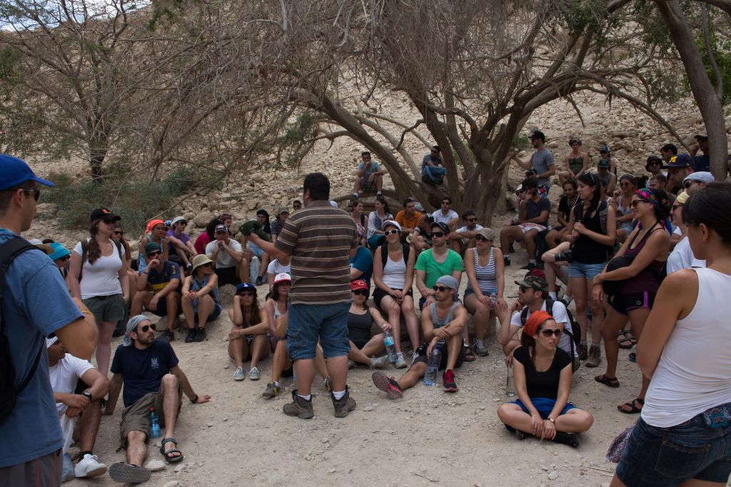 Career Israel participants discuss the issues facing the Jewish population today, on a May 11, 2013 seminar in the Ein Gedi nature preserve. (Sarah Schuman/ Flash90)