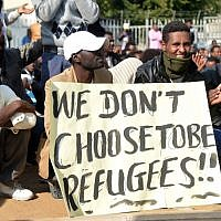African migrants gather during a protest in Lewinsky park in Tel Aviv on January 09, 2014. (Photo by Yossi Zeliger/Flash90)