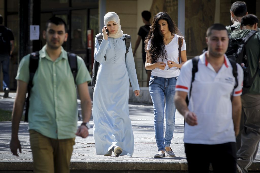 Students at the Hebrew University in Jerusalem (Photo by Miriam Alster/FLASh90)